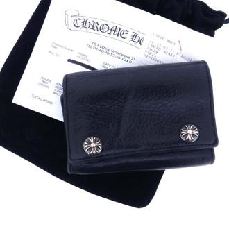 クロムハーツ/CHROME HEARTS クロスボタン3フォールドクロスパッチヘビーレザーウォレット財布