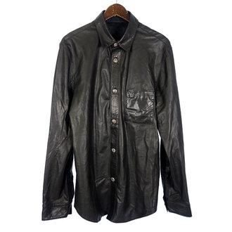 クロムハーツ/CHROME HEARTS クロスボールボタン フレアニー レザー 薄手 シャツ ジャケット  参考買取価格 8万~10万