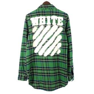 オフホワイト/OFF WHITE 17SS DIAG SPRAY CHECK SHIRT スプレーロゴチェックシャツ 参考買取価格20.000円前後