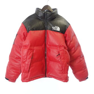 シュプリーム/SUPREME 17AW THE NORTH FACE Leather Nuptse Jacket ダウンジャケット
