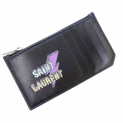 サンローランパリ/SAINT LAURENT PARIS スタッズ ロゴ プリント カードケース ウォレット 買取参考金額10,000円から14,000円前後