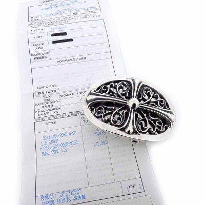 クロムハーツ/CHROME HEARTS クラシックオーバルクロスバックル 1.5インチベルト  買取参考金額 35000~45000円前後