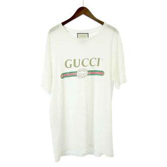 グッチ/GUCCI 17SS オールド ヴィンテージ ロゴ プリント ダメージ加工Tシャツ