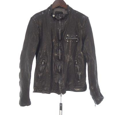 バックラッシュ/BACKLASH ドイツカーフ 製品染め レザー シングル ライダースジャケット参考買取価格15000~25000円前後