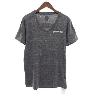 クロムハーツ/CHROME HEARTS 霜降り スクロールラベル プリント Vネック Tシャツ参考買取価格3000~6000円前後