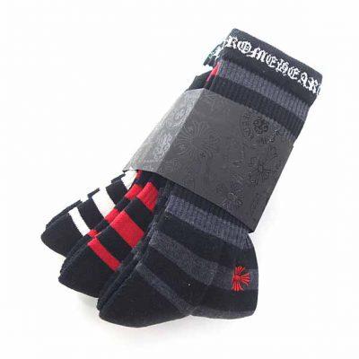 クロムハーツ/CHROME HEARTS SOCKS CH STRIPES 3PK ストライプ柄 靴下 アクセサリー参考買取価格13000~18000円前後