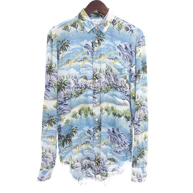 サンローランパリ/SAINT LAURENT PARIS 16SS Rayon Shirt 総柄レーヨンシャツ ダメージ加工 カットオフ 買取参考金額 40,000~50,000円前後